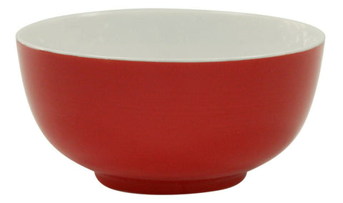 Set Of 6 Red Soup Bowls Glazed Porcelain Breakfast Cereal Dessert Salad Bowls