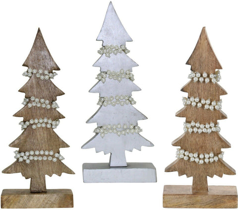 Christmas Table Decorations Centrepiece Rustic Wooden Xmas Tree Ornament Pearls