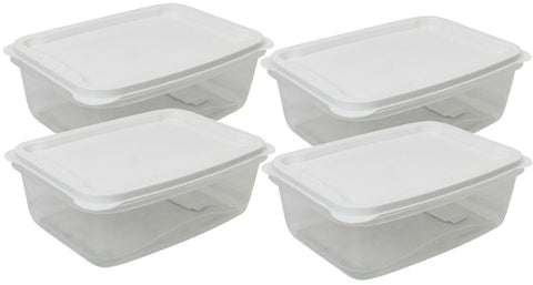 Set Of 4 - 3 Litre Plastic Food Storage Containers With Vent White Lid Rectangle