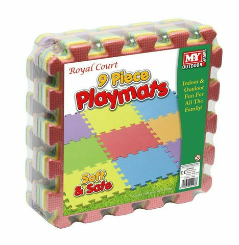 9 Piece Playmats Multi-Coloured Foam Interlocking Soft Play Mats Indoor Outdoor