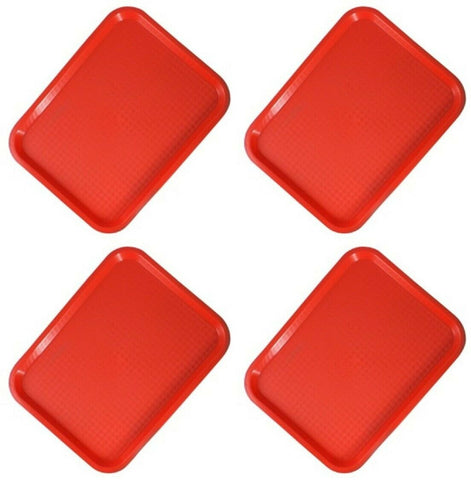 Sunnex Small Red Plastic Food Drinks Snack Serving Trays Fast Food Tray Set of 4