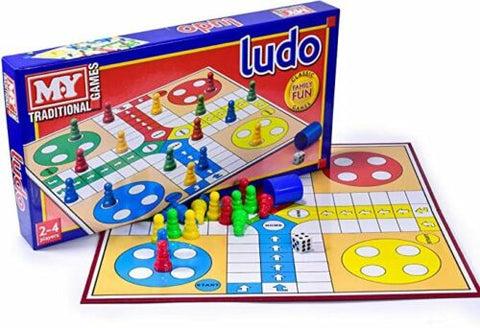 Ludo Board Game - Classic Traditional Family Adult Children Fun - Full Size Set