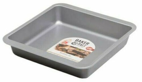Non-Stick Baking Tray - Baker & Salt Steel Kitchen Bakeware Brownie Oven Pan