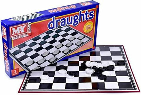 Draughts Checkers Board Games - Traditional Folding Family Game Adults Kids