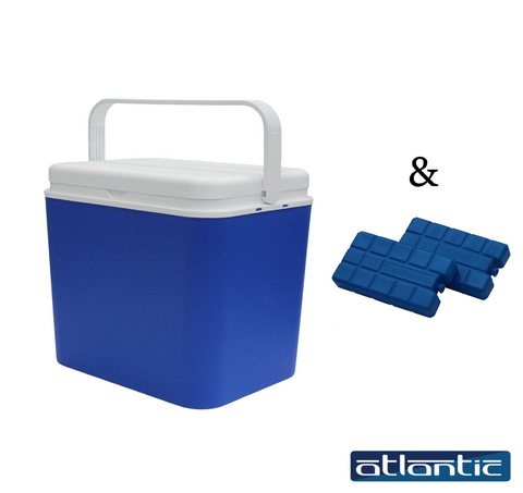 Large Cooler Ice Box Insulated Freezer Cool Box 24L + 2 Complimentary Ice Packs