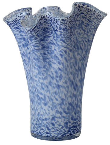 Large Flared Blue Glass Vase Frilled Sicily Vase Tall Flower Vase 45cm Speckled