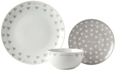 Sabichi Grey & White Hearts 12 Piece Porcelain Dinner Set