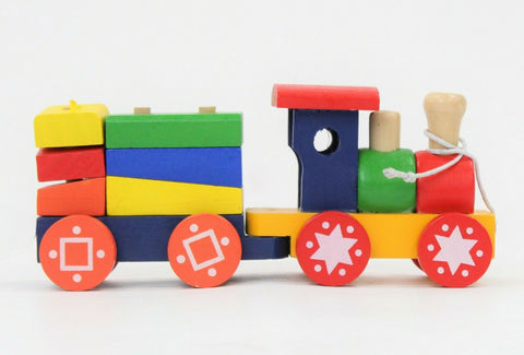 Wooden Train Set - Colourful Puzzle Blocks Kids Classic Activity Toy 18 Months+