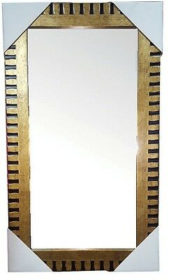 Large Wall Mirror with Hanging Kit Gold & Black Wood 59 x 29 cm