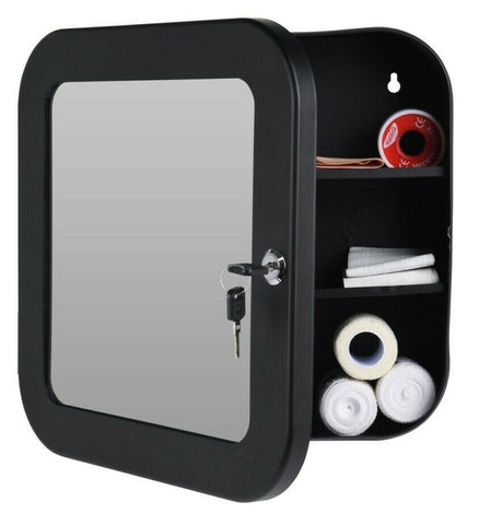 Bathroom Mirror Medicine Cabinet Black Metal Locking First Aid Storage Cupboard