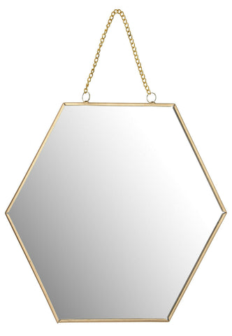 30cm Hexagon Shaped Hanging Wall Mirror Bathroom Shaving Mirror With Gold Frame