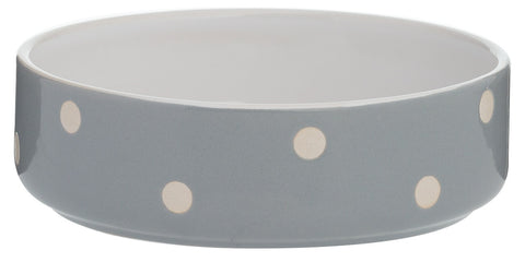 Mason Cash Pet Bowl Stoneware Heavyweight Polka Dot Grey Dog Cat Bowl 13cm