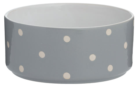 Mason Cash Pet Bowl Stoneware Heavyweight Polka Dot Grey Dog Cat Bowl LARGE 18cm