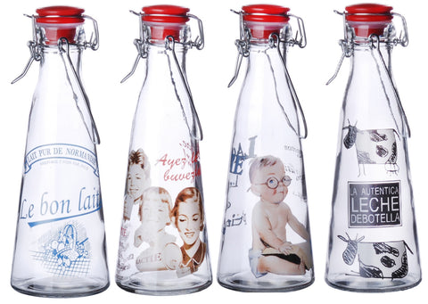 Set of 12 Glass Milk Bottles Swing Top Clip top Lid Vintage Bottle 500ml