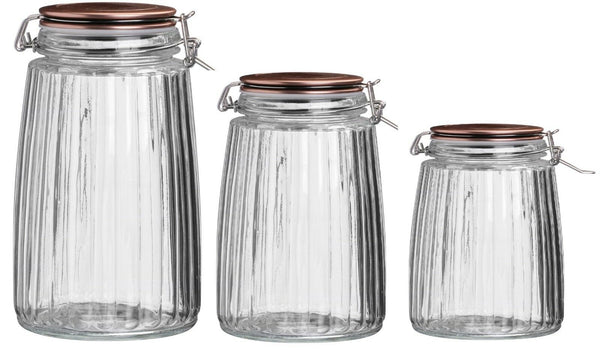 Cliptop Airtight Preserve Jars Food Storage Jars Canisters Containers Copper Lid