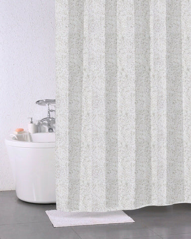 Polyester Stone Effect Shower Curtain 180 x 180cm Including 12 hooks
