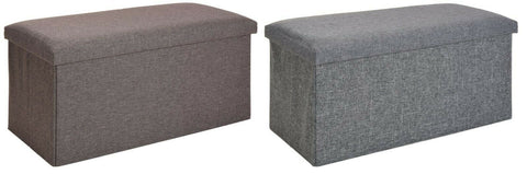Ottoman Large Pouffe Storage Box & Seat up to 150kg Brown Grey