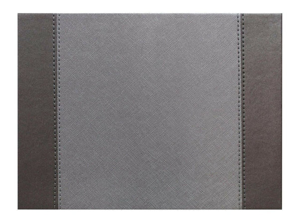 Faux Leather Stitch Rectangular Reversible Placemats Glitzy Silver Set of 4