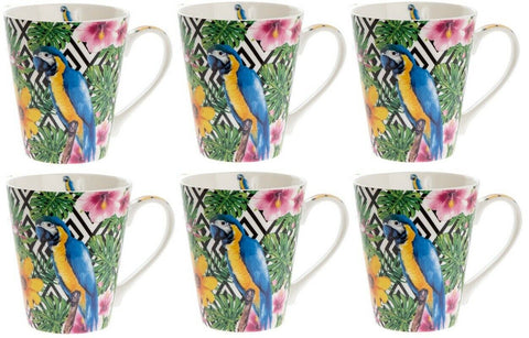 Leonardo Collection Set of 6 Fine China LARGE Mugs Wildlife Macaw Parrot Blue