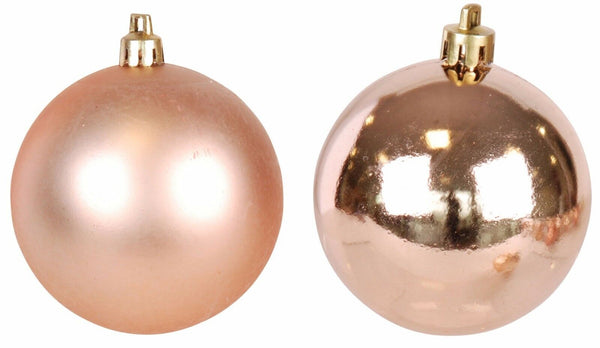 Box of 16 small Christmas Matt & Shiny Copper Baubles Size 4cm