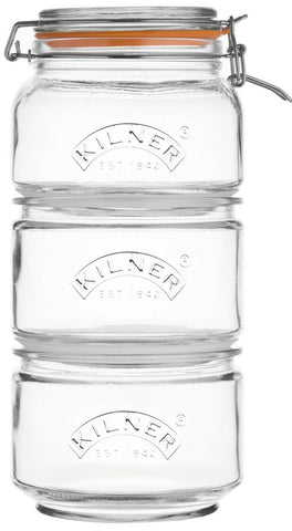 Kilner Set of 3 Stackable Glass Canisters With Clip Top Lid and silicone Seal