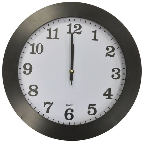 Large 35cm Round Wall Clock With Quartz Movement Black Frame
