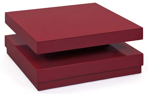 Large Modern Marsala Red Square Swivel Coffee Table Rotating Coffee Table
