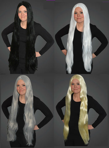Long Black or Grey or White or Blonde Wig 90 cm long Fancy Dress Wig