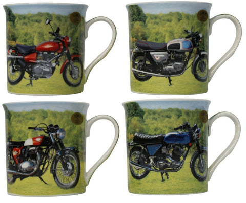 Leonardo Collection Set of 4 China Coffee Mugs Set Motorbike Collector Mugs