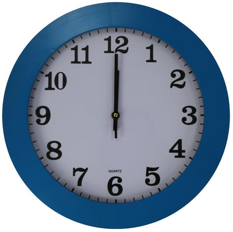35cm Large Round Wall Clock With Quartz Movement Blue