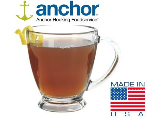 Anchor Hocking 93316 Set of 6 Glass Ava Tea Coffee Mugs Cups