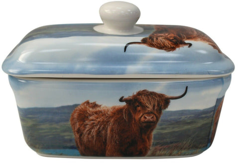 Lenoardo Collection Bell Top Fine China Highland Cow Butter Dish Gift Boxed