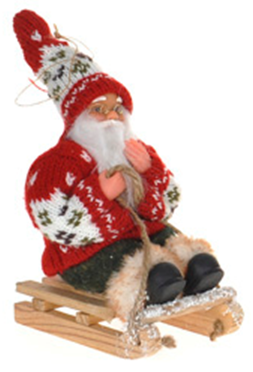 18cm Tall Small Santa Ornament To put on Windowsill or By Christmas Tree