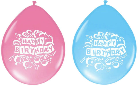 "48 x Packs of 16 Happy Birthday Party Balloons Blue & Pink 9"" Latex Balloon"