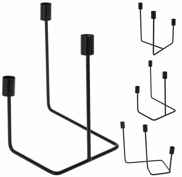 Decorative Black Wire Angled Modern Triple Candle Holders