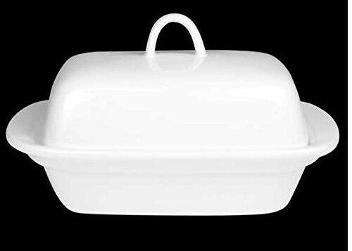 Sunnex Fully Vitrified Porcelain White Butter Dish With Lid Fits 250 Gram butter