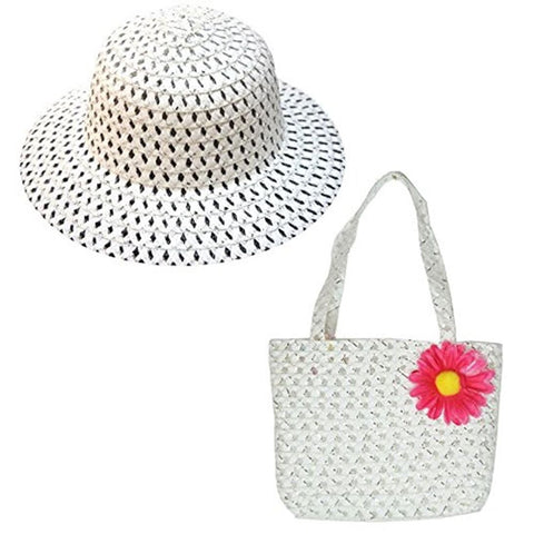 Cute Girls Summer Hat and Handbag Easter Bonnet & Matching bag in White