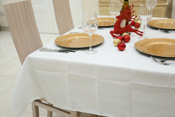 White On White Polka Dots Tablecloth Machine Wash Table Cloth 180cm x 130cm (6ft)