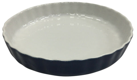 28cm Large Rippled Blue Ceramic Pie Dish Tart Dish Oven Dish