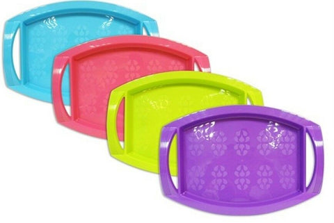Bright Plastic Serving Trays Dinner Lap Trays With Handles Stackable