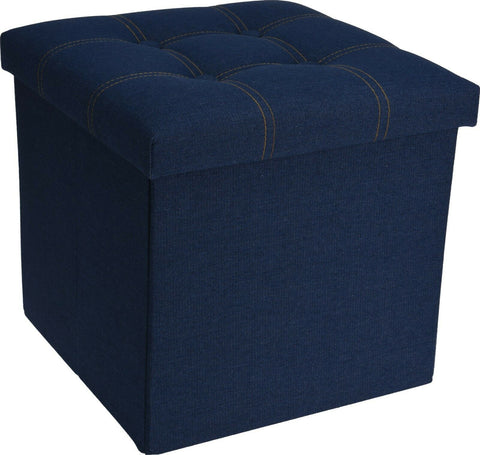 Ottoman Pouffe Cube Storage Box & Seat up to 150kg Denim Blue Jean Style