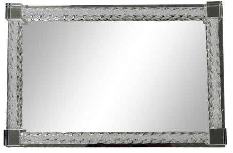 Large Deluxe 38cm Rectangle Tray With Mirror Tray Crystal Glass Surround