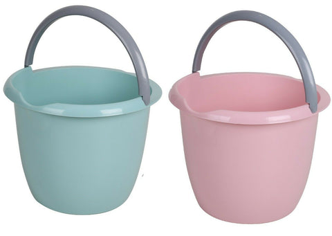 Large Plastic Bucket Pastel Green & Pink 10Litre Bucket Garden Water Can
