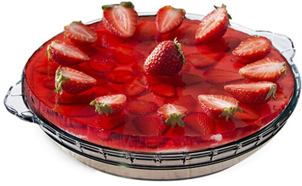 "25.5cm 10"" Round Glass Pie Plate Flan Tart Oven -Tableware Collection"