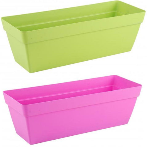 Large Bright Colour Planters With Water Reserve Window Box Pink Green 50cm