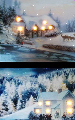 Christmas Led Canvas Illuminated Church House in Snow Canvas Picture 40 x 30cm