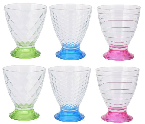 Set of 6 Large Glass Ice Cream Bowls Sundae Dishes Fruit Salad Multi Coloured
