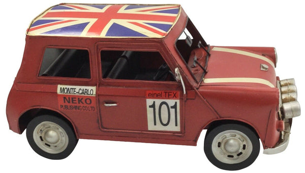 Vintage Classic British Mini Red Retro Car Tin Metal 29cm Length Collectible