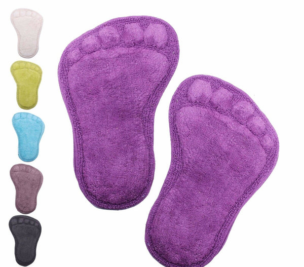 Set of 2 Footprint Bath Floor Mats Rugs in choice of Colours 100% Cotton