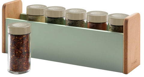 Typhoon Vintage Countertop Beech Wood Spice Rack With 6 Airtight Spice Jars